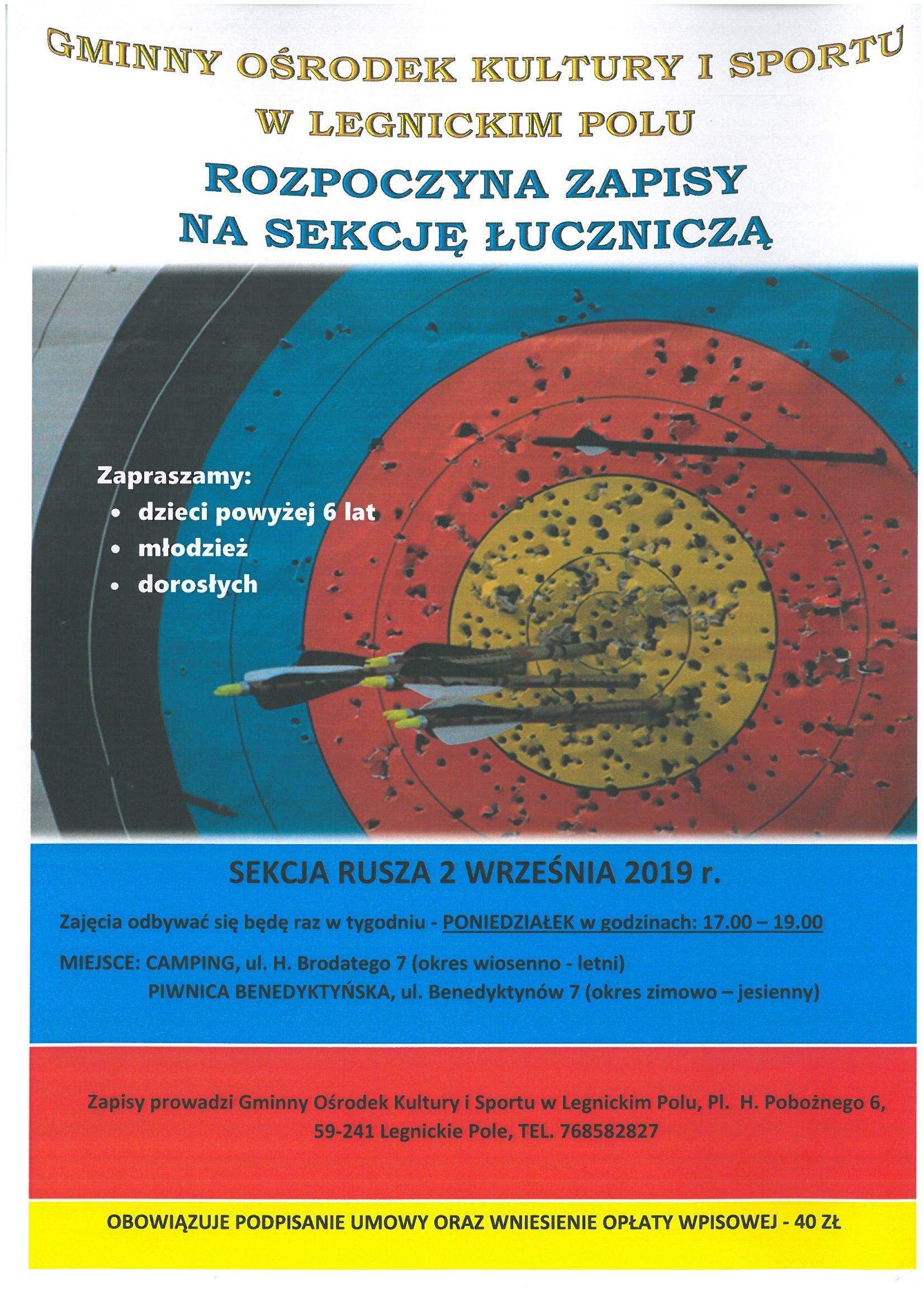 Sekcja łucznicza - zapisy sezon 2019/2020